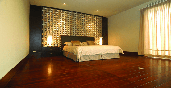 lantai kayu merbau pada kamar tidur