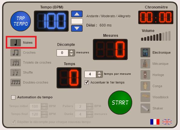 metronome en ligne gratuit - Percussions corpoelles