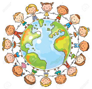 Happy cartoon children round the Globe as a symbol of peace or global communication