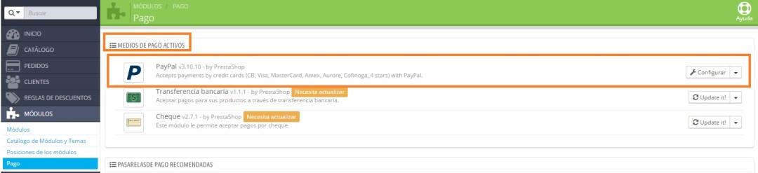 Paypal instalado Prestashop