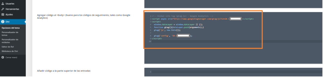 4 poner etiqueta analytics en divi script google analytics ua en wordpress insertar en divi body o head