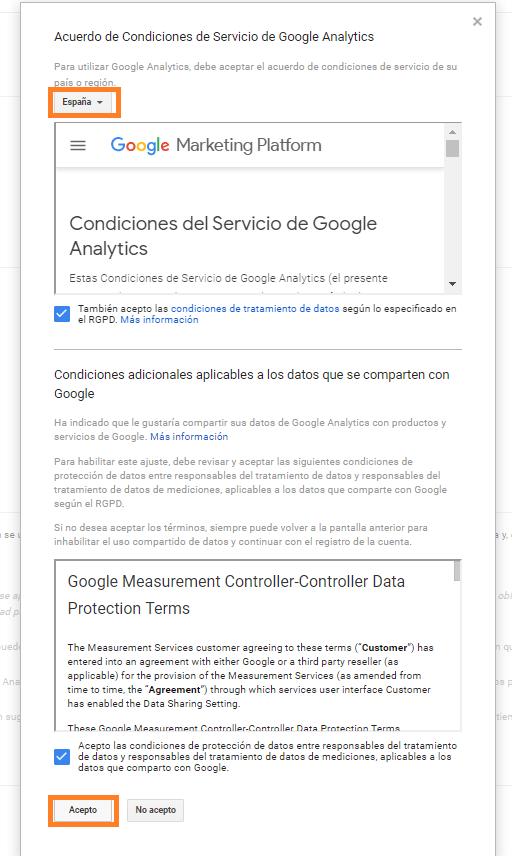 6 crear una cuenta en google analytics aceptar condiciones