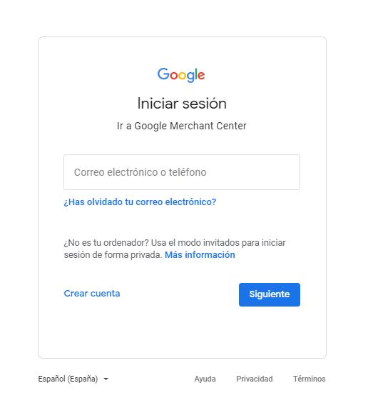 iniciar sesion en google para merchant center abrir cuenta