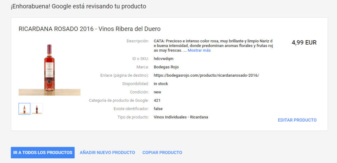 GOOGLE MERCHANT CENTER exito guardar producto previsualizar