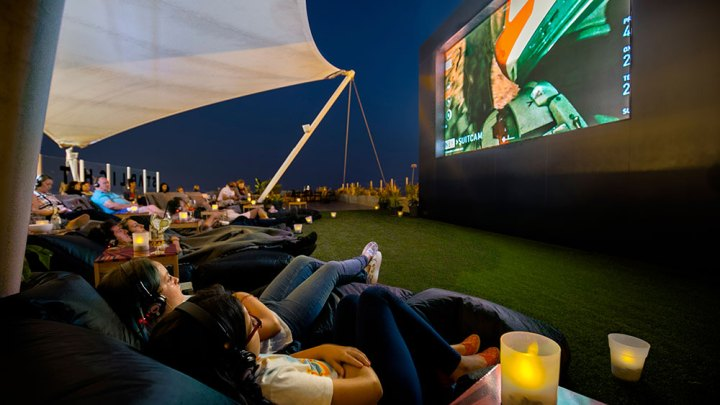 Starlight Outdoor Cinema and the Rooftop Biosfera Entertainment Center