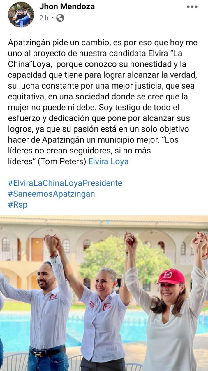 SE SÚMAN DESTACADOS PERSONAJES A LA CAMPAÑA DE ELVIRA LOYA LÓPEZ.