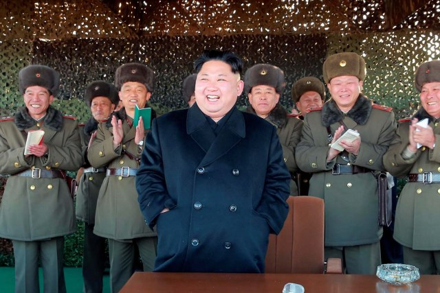 North Korean leader Kim Jong Un attends an intensive artillery drill of the KPA artillery units on the front in this image released by North Korea's Korean Central News Agency (KCNA) in Pyongyang December 2, 2016. KCNA/ via REUTERS   ATTENTION EDITORS - THIS IMAGE WAS PROVIDED BY A THIRD PARTY. EDITORIAL USE ONLY. REUTERS IS UNABLE TO INDEPENDENTLY VERIFY THIS IMAGE. SOUTH KOREA OUT. NO THIRD PARTY SALES. NOT FOR USE BY REUTERS THIRD PARTY DISTRIBUTORS.      TPX IMAGES OF THE DAY