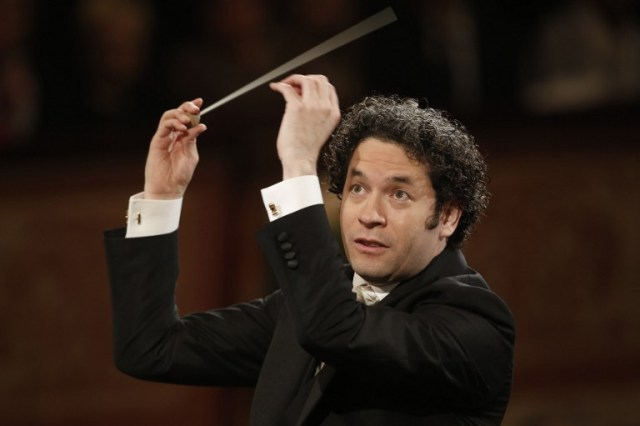 Venezulean conductor Gustavo Dudamel conducts the traditional New Year's Concert 2017 with the Vienna Philharmonic Orchestra at the Vienna Musikverein in Vienna, Austria, on January 1, 2017. / AFP PHOTO / Dieter Nagl