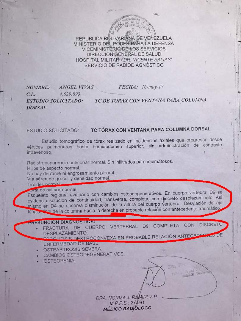 La esposa del general Vivas compartió una fotografía del informe médico. Foto: @Estrella_Vitora