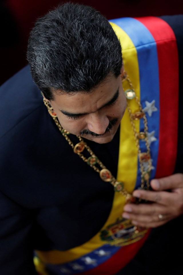 Venezuela's President Nicolas Maduro arrives for a session of the National Constituent Assembly at Palacio Federal Legislativo in Caracas, Venezuela August 10, 2017. REUTERS/Ueslei Marcelino