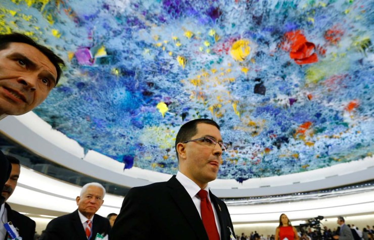 Venezuela's Foreign Minister Jorge Arreaza leaves after his address to the 36th Session of the Human Rights Council at the United Nations in Geneva, Switzerland September 11, 2017. Picture taken with a fisheye lens. REUTERS/Denis Balibouse