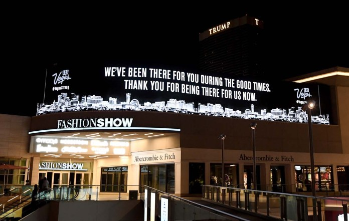 LAS VEGAS, NV - OCTOBER 03: An electronic sign outside the Fashion Show mall on the Las Vegas Strip displays a message of gratitude in response to Sunday night's mass shooting at a music festival on October 3, 2017 in Las Vegas, Nevada. Late Sunday night, a lone gunman killed at least 59 people and injured more than 500 after he opened fire on a large crowd at the Route 91 Harvest country music festival. The massacre is one of the deadliest mass shooting events in U.S. history.   Ethan Miller/Getty Images/AFP