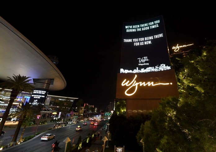 LAS VEGAS, NV - OCTOBER 03: The marquee at Wynn Las Vegas displays a message of gratitude in response to Sunday night's mass shooting at a music festival on October 3, 2017 in Las Vegas, Nevada. Hotel-casinos all along the Las Vegas Strip replaced their usual flashy marquee advertisements with the same message of condolence as a show of strength in reaction to the violence. Late Sunday night, a lone gunman killed at least 59 people and injured more than 500 after he opened fire on a large crowd at the Route 91 Harvest country music festival. The massacre is one of the deadliest mass shooting events in U.S. history.   Ethan Miller/Getty Images/AFP