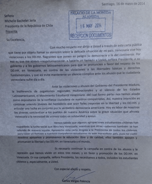 CARTA RECIBIDA PALACIO MONEDA