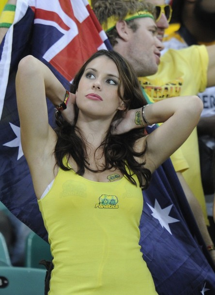 An Australia supporter cheers prior to t