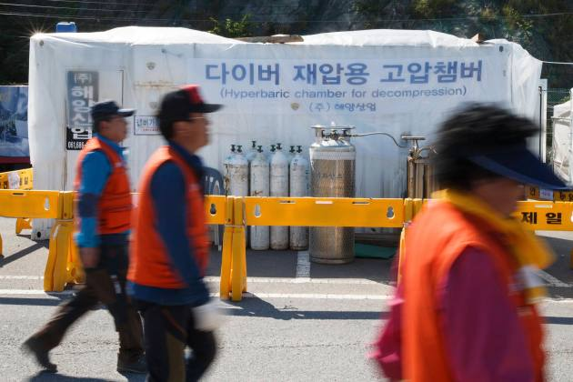 A hyperbaric chamber is seen at a port at a port where family members of missing passengers of the sunken passenger ship Sewol are gathered in Jindo