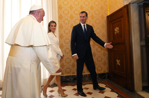 Pope Francis meets Spain's King Felipe and Queen Letizia during a private audience at the Vatican