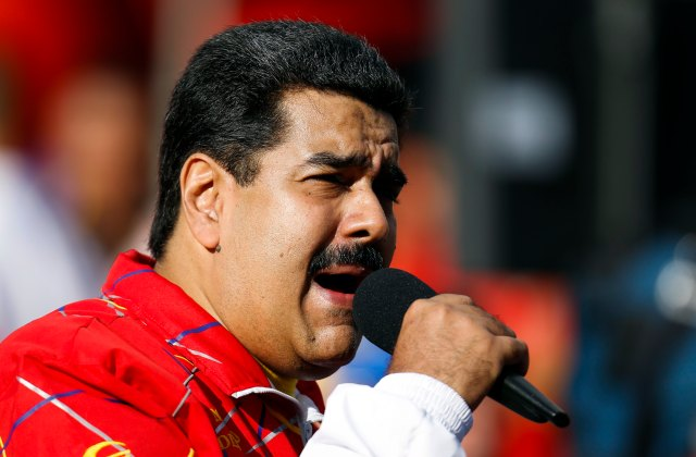 Venezuela's President Nicolas Maduro speaks during a meeting with students outside Miraflores Palace in Caracas