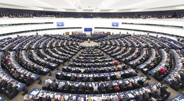 El papa Francisco (c, al fondo) pronuncia un discurso ante el Parlamento Europeo en Estrasburgo (Francia) hoy, martes 25 de noviembre de 2014. EFE / PATRICK SEEGER