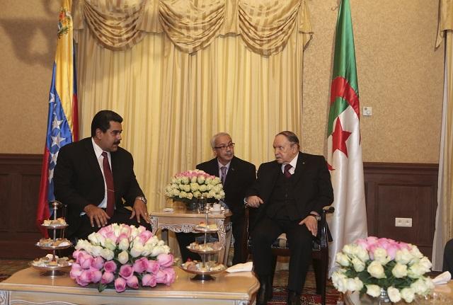 Algeria's President Bouteflika welcomes Venezuela's President Maduro in Algiers