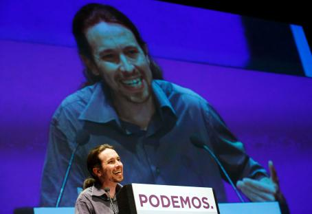 Iglesias, secretary-general of Spanish anti-austerity party Podemos (We Can), speaks during a meeting in Madrid