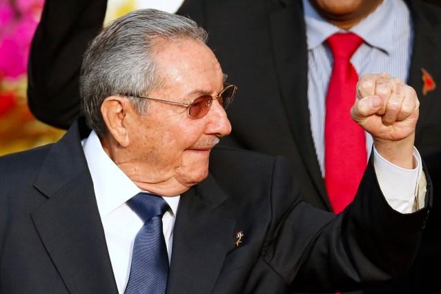 Cuba's President Raul Castro gestures during ALBA alliance summit in Caracas