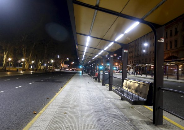 An empty bus stop is seen during a one-day nationwide strike in Buenos Aires