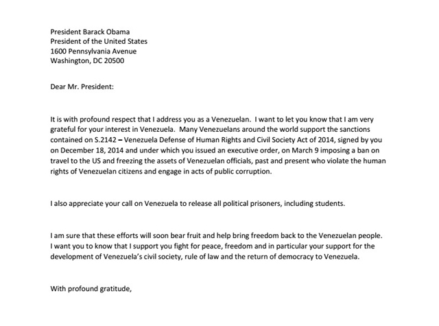 carta a Obama en ingles