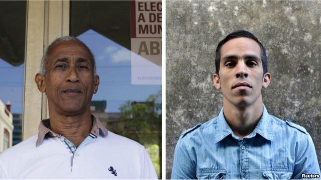 """Foto: Hildebrando Chaviano Montes (izq.), y Yuniel Lopez O' Farril etiquetados como """"contarevolicionarios"""" por la autoridad electoral cubana / Foto reuters"""