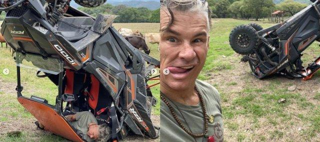 Fernando Carrillo 1 - Las IMÁGENES del aparatoso accidente que sufrió Fernando Carrillo en una camioneta