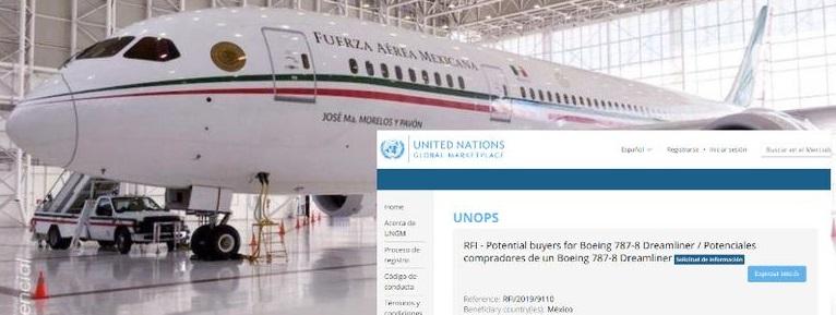 ONU oferta el avión presidencial que vende gobierno de AMLO