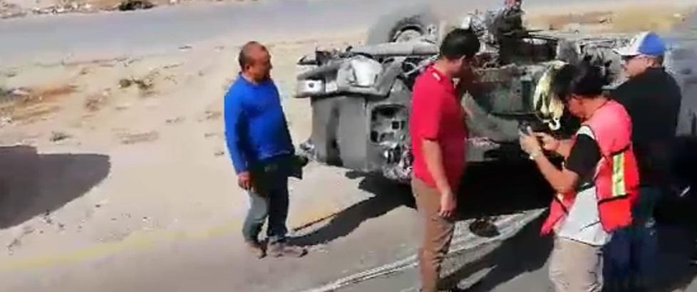 Capta usuario volcadura en Juárez