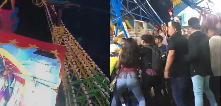 Colapsa juego en Feria Durango y visitantes ¡evitan que caiga! (VIDEO)