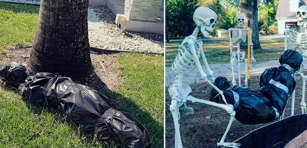 Paisana del 'Chapo' decora con 'embolsados' por Halloween; vecinos se enfurecen