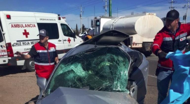 Aparatoso choque deja 1 muerto y 5 heridos en Cuauhtémoc