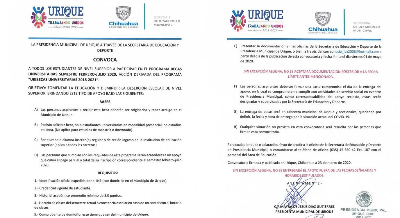 Ponen en marcha convocatoria de becas universitarias en Urique, Semestre Febrero-Julio 2020