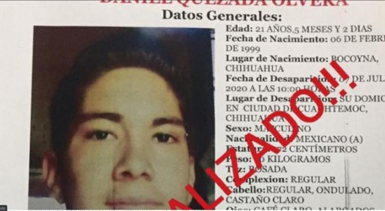 Localizan sano y salvo a Daniel Quezada; desapareció en Cuauhtémoc