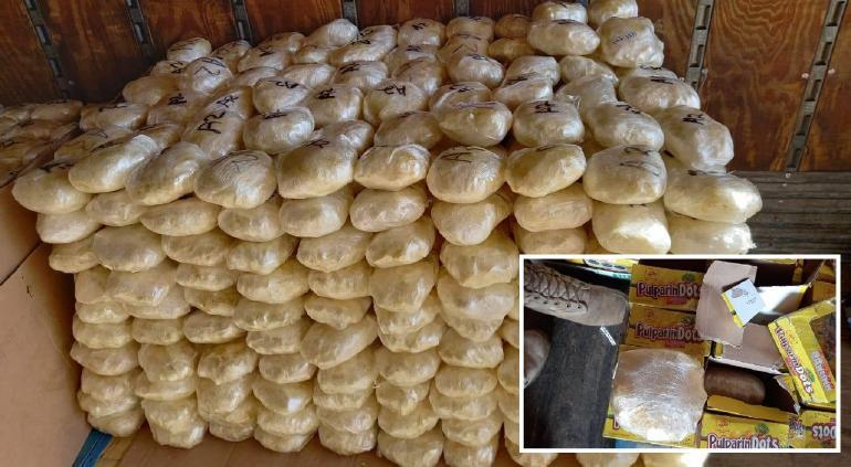 Aseguran más de 600 kg de metanfetamina en cajas de dulces en BC
