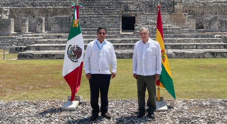 Despide AMLO al presidente de Bolivia tras su visita a Campeche
