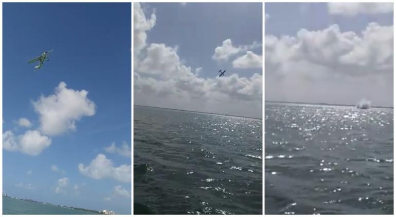 Captan momento en que avioneta se desploma en Cancún