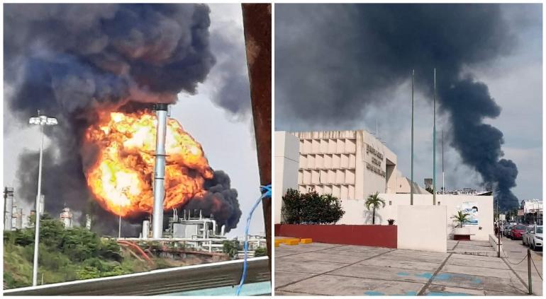 Explota refinería de Pemex en Veracruz