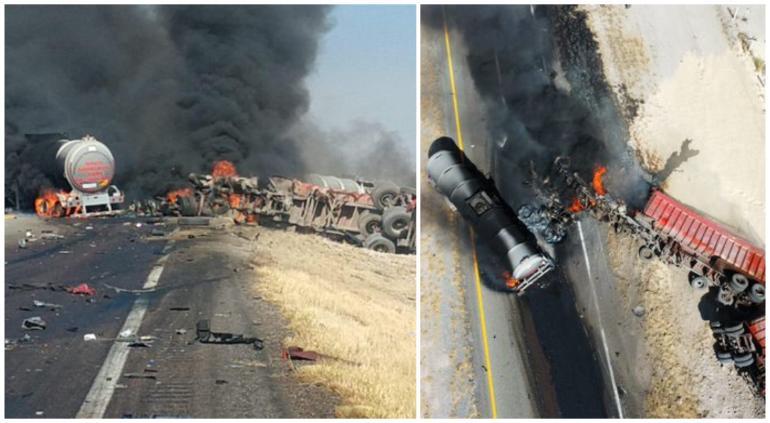 Desastroso choque de pipa y tráiler en Coahuila… provocan incendio