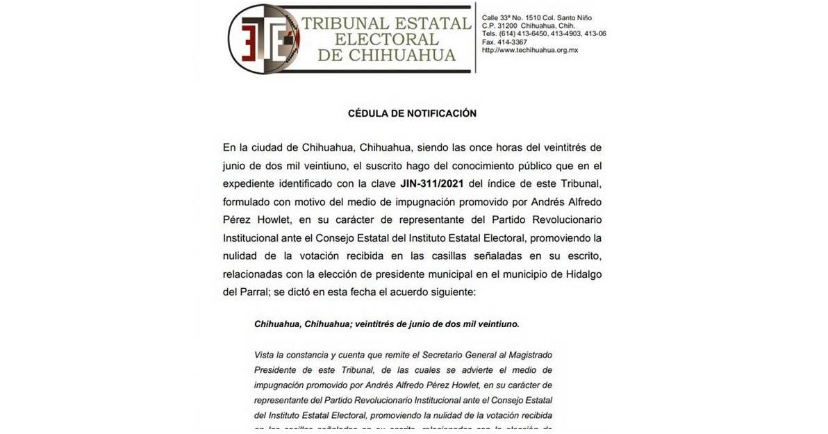 Impugna el PRI elección de alcalde y sindicatura en Parral