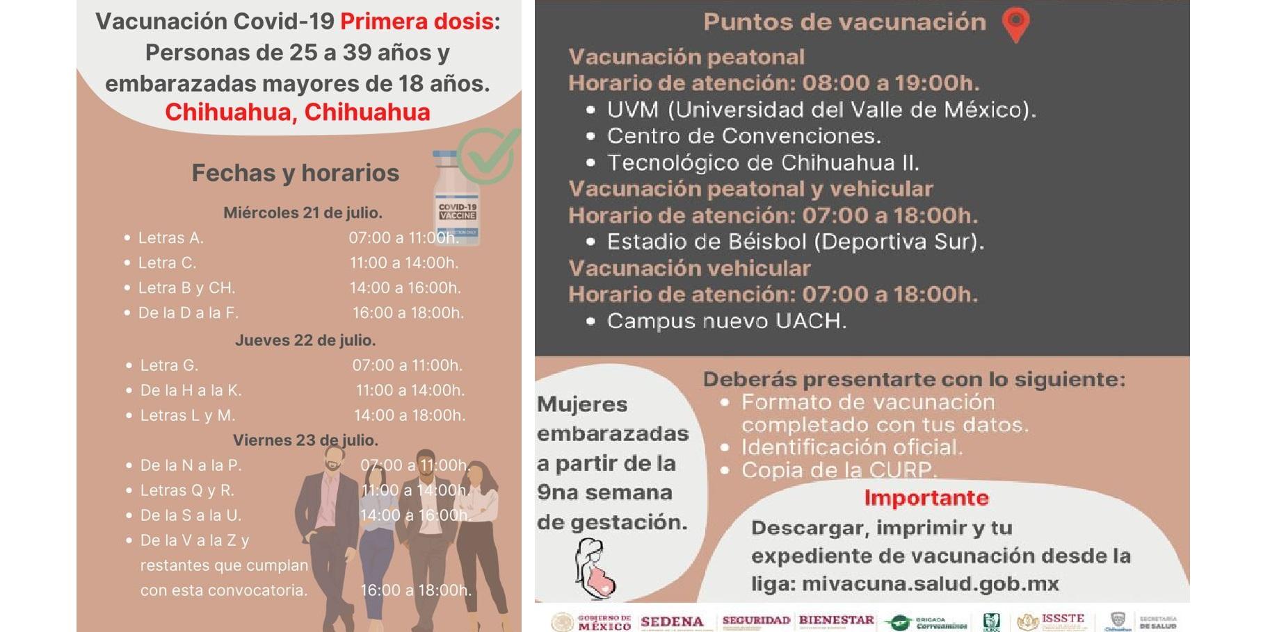 Inicia vacunación este miércoles 21 de julio contra covid-19 en sus primeras dosis para personas de 25 a 39 años y mujeres embarazadas en Chihuahua: Bienestar