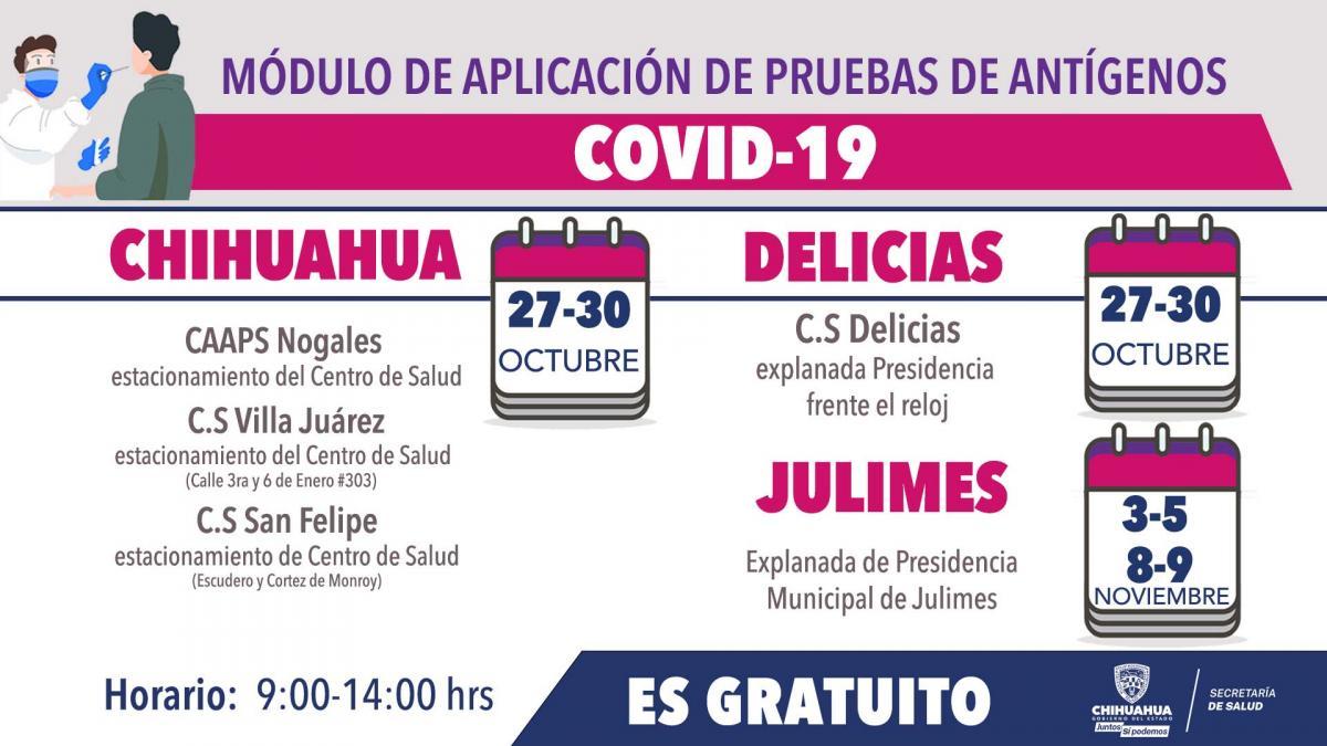 Instalan puestos para prueba gratuita de antígenos Covid en Chihuahua