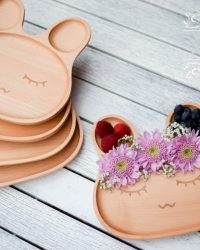eco kids wooden bunny dinner plate