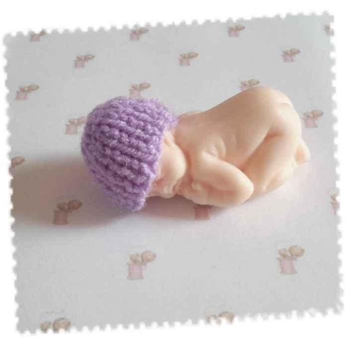 petit bonnet bébé fimo mauve