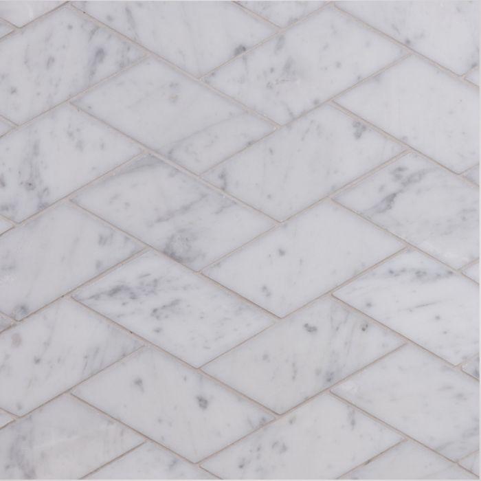 italian carrara herringbone mosaic