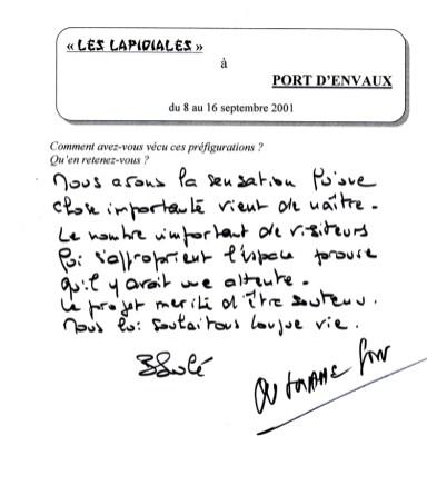 Il a écrit, le 16-09-2001 :