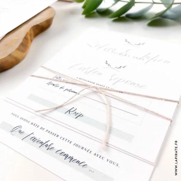 rsvp mariage vegetal carton reponse minimaliste la pirate